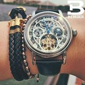 BINGER手錶機械手錶男錶鏤空手錶全館滿899限時89折黑皮白圈·皇者榮耀3C旗艦店