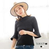 東京著衣-簡約百搭喇叭袖針織上衣(180714)