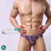 性感內褲 花漾比利蕾絲透明三角褲(紫色)-XL-玩伴網【滿額免運】