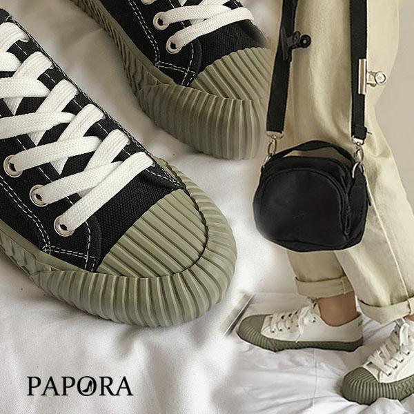 PAPORA抹茶口味綁帶餅乾鞋K8053 黑/白