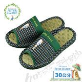 【クロワッサン科羅沙】Peter Rabbit 雙線格素邊室內草蓆拖鞋 (綠色30CM)