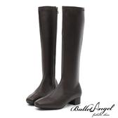 長靴 高雅氣質素面方頭長筒跟靴(咖) *BalletAngel【18-138-15co】【現貨】