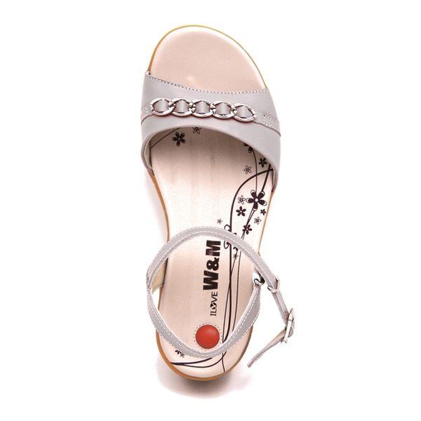 W&M 真皮繫帶環扣式涼鞋 女鞋-灰(另有粉)