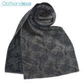 Vivienne Westwood 新款雙色滿版草寫星球圖樣圍巾(灰/深藍色)910535-1