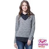 【mamaway媽媽餵】襯衫V領假兩件孕哺上衣(共2色)  孕婦裝 哺乳衣