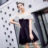 洋裝/夏裝夜場女裝圓點一字肩荷葉邊雪紡拼接修身A字短袖連身裙女「歐洲站」