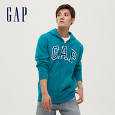 Gap男裝 Logo基本款休閒連帽外套 618866-孔雀藍