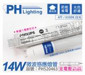 PHILIPS飛利浦 Sensor TLED 14W 6500K 白光 全電壓 4尺 微波感應燈管 _ PH520463