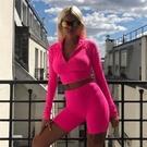 瑜珈服套裝(兩件套)-長袖上衣瑜珈短褲女運動服3色73zk28【時尚巴黎】