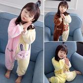 女寶寶睡衣秋冬款1嬰幼兒童法蘭絨0-3歲加厚連體2冬季珊瑚絨睡袋4【店慶8折促銷】
