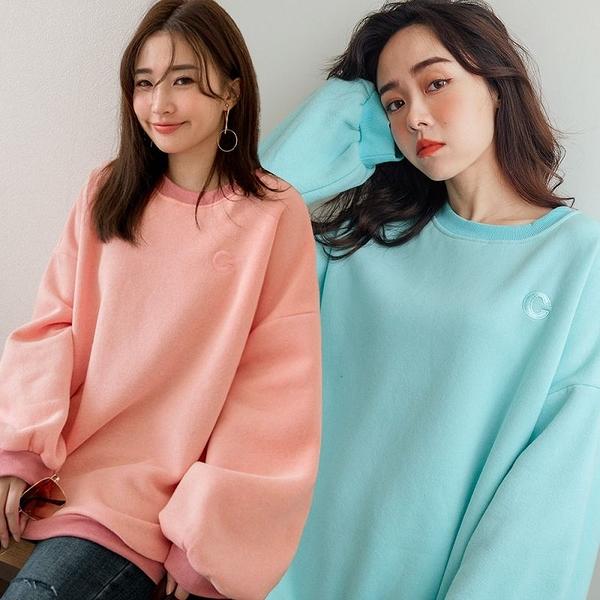現貨-MIUSTAR 刺繡小C內刷毛厚磅棉質上衣(共3色)【NH3462】
