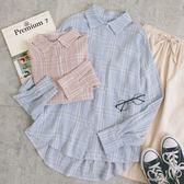 MUMU【T19129】休閒感小格紋長袖襯衫。三色