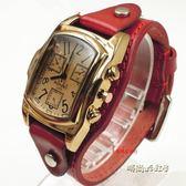 女士表手錶女士防過敏手錶純皮帶長方形手錶學生表韓版復古表「時尚彩虹屋」