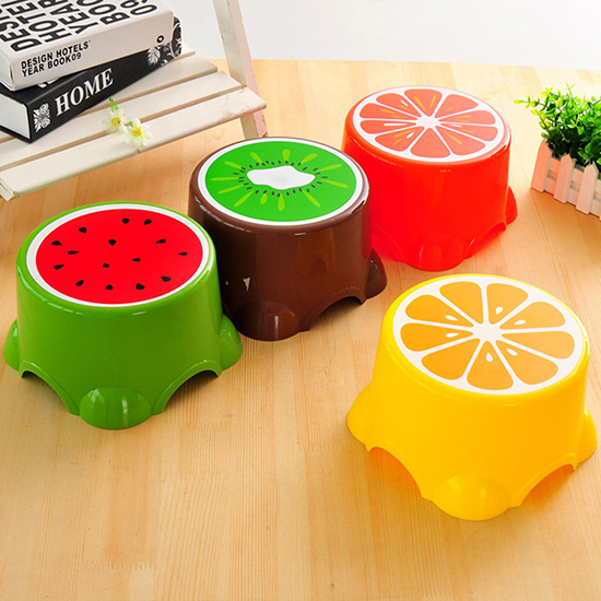 塑料凳 小凳子 兒童椅 可疊加 塑膠椅 圓凳 椅子 加厚 寶寶洗澡 可愛水果凳(大)【A029】生活家精品