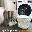 民宿整理洗衣籃北歐簡約IG風米白色帶蓋帶把手雜物收納桶【小獅子】