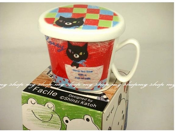 Shinzi Katoh Facile可愛黑貓動物造型饅頭馬克杯