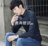 秋季白襯衫男士長袖襯衣修身韓版青年純色休閒寸衫男上班職業工裝「鹿角巷」