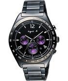 agnes b. 宇宙星馳視距儀計時腕錶-IP黑x紫 7T12-0AP0T(BW8004P1)