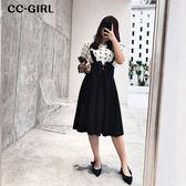 中大尺碼  黑色馬甲繫帶吊帶長裙 - 適XL~4L《 68162 》CC-GIRL
