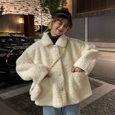 冬季韓版寬鬆網紅矮個子加厚短款絨羊羔毛棉衣棉服外套女ins潮冬