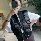 PINKYKIKI-簡約V領鋪棉無袖背心外套短款【CC1911016】