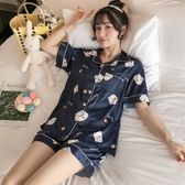 睡衣女 睡衣女夏季薄款藍色豬可愛冰絲短袖兩件套裝真絲綢學生春秋家居服