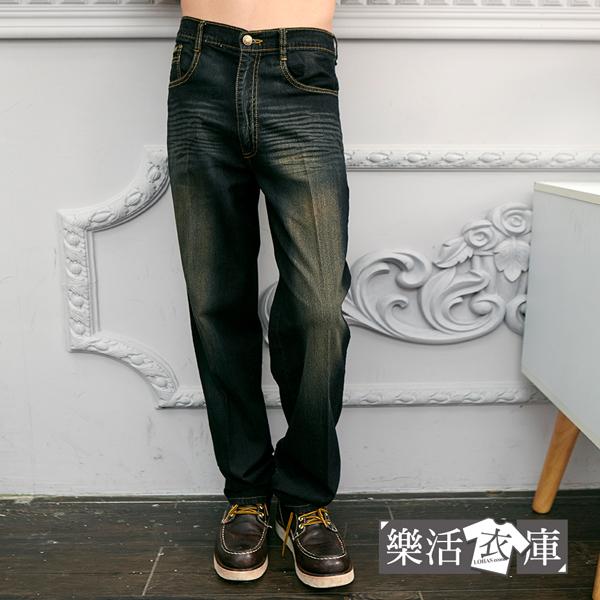 【P675-2】MIT輕薄透氣刷色伸縮中直筒牛仔褲(黑色)● 樂活衣庫