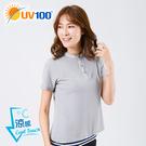 UV100 防曬 抗UV-涼感舒適亨利領上衣-女