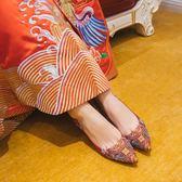婚鞋粗跟紅色秀禾鞋民族風中式新娘鞋結婚高跟鞋  茱莉亞嚴選