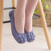 娃娃鞋 懶人鞋 休閒鞋 藍 女鞋 真皮平底鞋【SV8554】快樂生活網