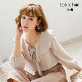 東京著衣-簡約氣質荷葉領綁帶上衣-S.M(180346)