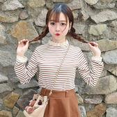秋裝女裝新款韓版蕾絲拼接小立領打底衫上衣顯瘦條紋長袖T恤學生