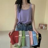 吊帶上衣 夏季2020新款韓版簡約基礎素色吊帶背心女百搭外穿無袖針織上衣潮快速出貨