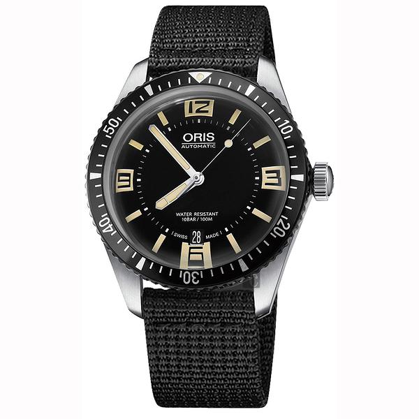 Oris豪利時 Divers Sixty-Five 1965復刻潛水機械錶-黑/40mm 0173377074064-0752024