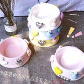 寵物碗寵物餵食器意大利同款愛心鴨子陶瓷寵物狗碗貓碗【快速出貨好康八折】