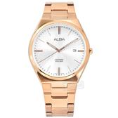 ALBA / VJ42-X286K.AS9J60X1 / 輕薄簡約 藍寶石水晶玻璃 日期 不鏽鋼手錶 銀x鍍玫瑰金 41mm