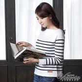 Victoria 船型領條紋長袖線衫-女