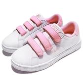 Fila 魔鬼氈 休閒鞋 白 粉紅 小白鞋 韓系 女鞋 【PUMP306】 5C321S155