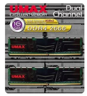 【超人百貨X】 免運 UMAX 桌上型記憶體 DDR4 2666 雙通道 16GB(8G*2) 含散熱片 1024*8