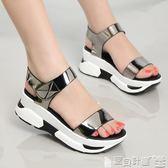 厚底涼鞋女 真皮鞋子女夏夏季百搭韓版學生中坡跟白色鬆糕鞋厚底涼鞋 寶貝計畫