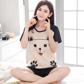 夏季韓版女士純棉睡衣短袖短褲卡通薄全棉家居服兩件套裝