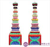 【大堂人本】JY35- 木柱方形七層全飲料罐頭塔(450瓶)
