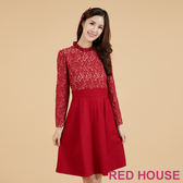 【RED HOUSE 蕾赫斯】荷葉領蕾絲洋裝(紅色)