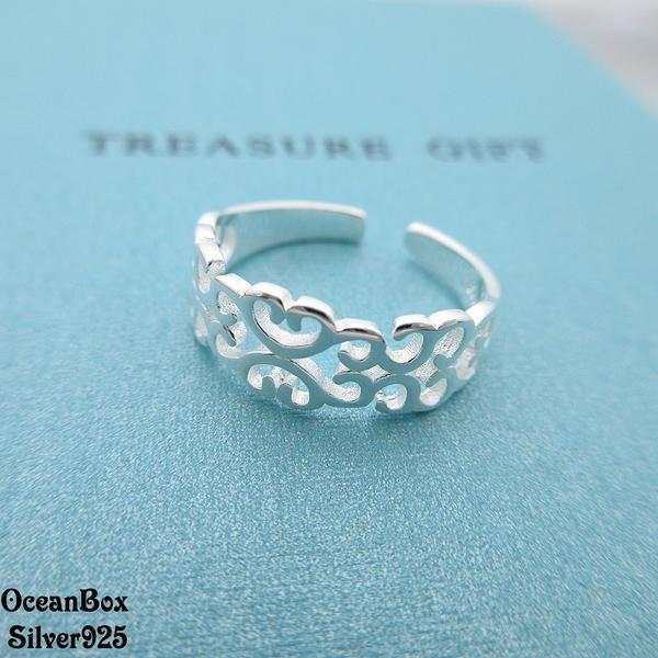 ☆§海洋盒子§☆精緻古典雕紋開口式純銀戒指 《925純銀》