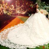 單個90公分仿真大拖尾新娘婚紗公主女孩生日禮物【格林世家】