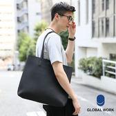 GLOBAL WORK男女素面壓紋皮質肩背手提方形托特包-三色