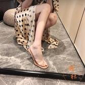一字帶性感涼拖鞋外穿透明高跟涼鞋女粗跟水晶跟【橘社小鎮】
