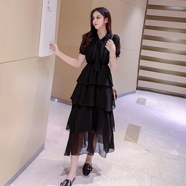 超殺29折 韓系復古超仙甜美森系雪紡蛋糕短袖洋裝