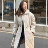 韓國冬季溫柔翻領菱格寬松抽繩收腰中長款加厚羽絨棉服外套女  喵喵物語