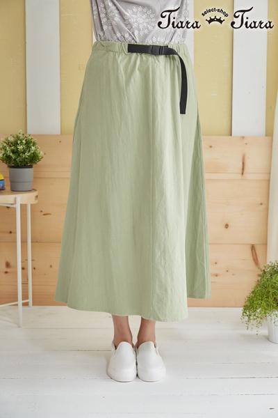 【Tiara Tiara】自然氛圍鬆緊腰半身裙(綠)